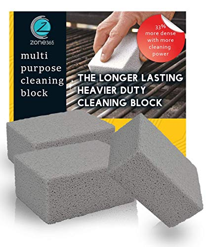 Grill Stone Cleaning Block | Cleaning Stone | Odorless & 100% Ecological | Removes Rust Grease Residues Stains & De-Scales | More Dense Material Lasts 33% Longer | A Must Have All Homes. (3 Pack)