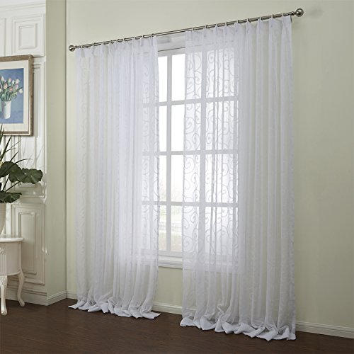 Cheap Sheer Curtains White Jacquard Voile – KoTing 1 Piece Soft Chiffon Sheer Curtains Grommet Top for Living Room 100 inch Long 50 inch wide