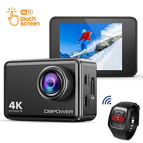 DBPOWER EX7000 4K Sports Action Camera, 14MP Touchscreen Waterproof Camera 170 Degree Wide Angle 2.4G Remote Control and Accessories Kit DBPOWER