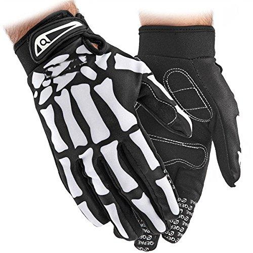 Sport Bike Hand Gloves: Winter WindStopper Thermal Fleece Bone Skeleton Cycling