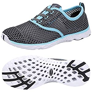 51kreYBKdgL. SS300  - ALEADER Women's Aquatic Water Shoes for Pool, Swim, Beach, Outdoors, Walking Sneaker Grey/Aqua Sky 7 B(M) US