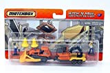 Matchbox Hitch 'N Haul MBX 1:64 Scale Die Cast Car Playset - Construction Zone Set with Isuzu Rodeo, Pipe Hauler, 2 Construction Cones, Excavator and Demolition Man