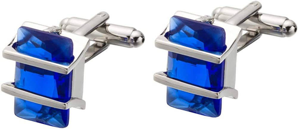 Da.Wa Elegant Blue Crystal Square Cuff Links Men's Business Wedding Shirt Cufflinks Accessories