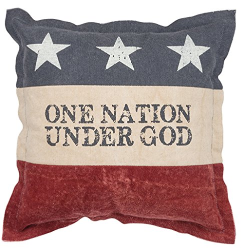 Primitives by Kathy Patriotic One Nation Under God Cotton Throw Pillow, 12-Inch Square