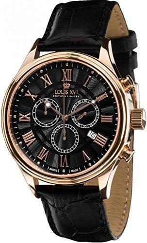 Louis Quartz Watch - Louis XVI Men's-Watch Danton l'or Rose Noir Swiss Made Chronograph Analog Quartz Leather Black 517