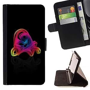 For HTC One Mini 2 M8 MINI Case , Remolinos coloridos- la tarjeta de Crédito Slots PU Funda de cuero Monedero caso cubierta de piel