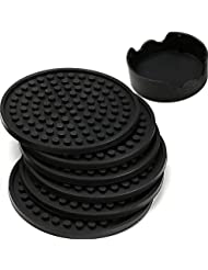 ENKORE Coasters For Drinks - Set of 6 with Holder, Black - Protect Furniture From Water Marks or Damage - Deep Tray and Rim Catch Cold Drink Sweat Without Spill, Large 4.3 Inch Size Fit All Cups