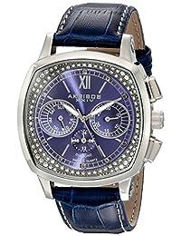 Akribos XXIV Men's AKR462BU Grandoise Multi Function Diamond Swiss Quartz Square Watch