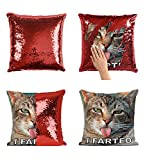 I Farted Cat Funny P17 Sequin pillow, Sequin Pillowcase, Two color pillow, Fift for her, Gift for him, Magic Pillow, Mermaid Pillow, Scales Pillow Cover