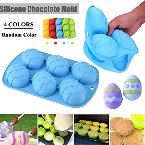 Prom-note 1 Pcs Bake Silicone Easter Egg Chocolate Mould, Silicone Mould, Large 6-Cavity Egg Shaped Silicone Mold…