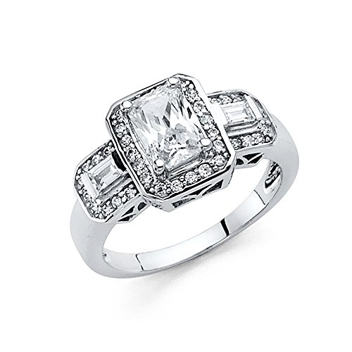 Paradise Jewelers 14K Solid White Gold Emerald-Cut Solitaire with Baguette and Round Side Stones Cubic Zirconia Engagement Ring, Size 5 (Ring Baguette Sides)