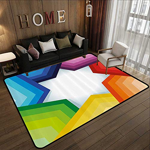 Bathroom Rugs,Abstract,Rainbow Colored Stripes Shaping a Giant Star Conceptual Spectrum Modern Art Print,Multicolor 47