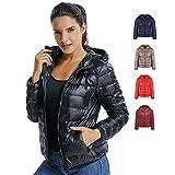 SEASUM Women's Hooded Packable Ultra Light Weight Short Down Jacket Parka Insulated Coat