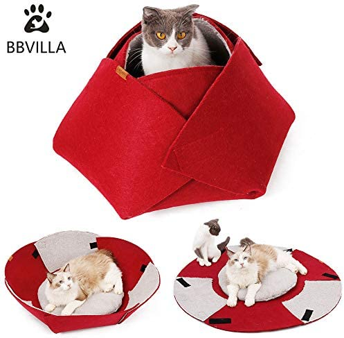 BBVILLA Rose Cat House Indoor Cat Cave Pet Summer Bed Collapsible Pet House Indoor Beds for Small Dog Cats Puppy with Soft Carpet Kittens Toys