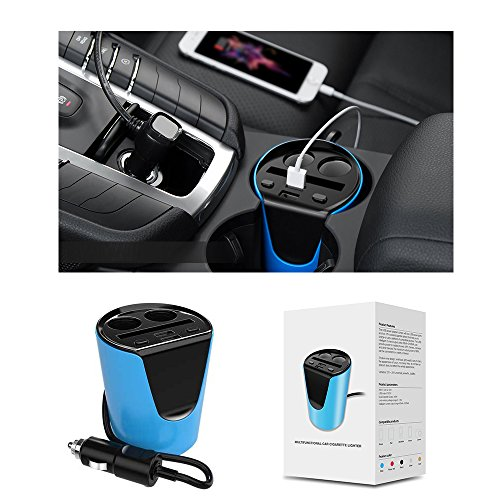 Price comparison product image Exxacttorch Car cup holder charger 2-Socket Cigarette Lighter Power Adapter for Phone 6s,  6s Plus,  6,  6 Plus,  5SE,  5S,  5C,  5,  4S,  4; iPads MP3 Games Cameras and other devices.