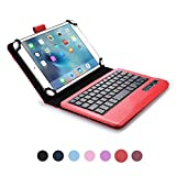 Lenovo IdeaTab A3000 keyboard case, COOPER INFINITE EXECUTIVE 2-in-1 Wireless Bluetooth Keyboard Magnetic Leather Travel Cases Cover Holder Folio Portfolio + Stand Lenovo IdeaTab A3000 (Red)