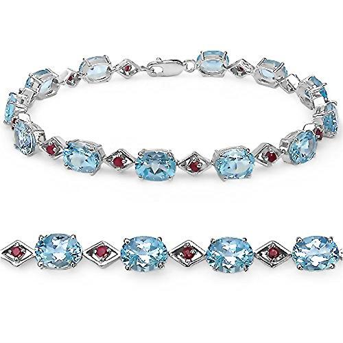 19.80 Carats topaze bleue pierres précieuses dans 11,25 grammes Bracelet en argent sterling pour les femmes - Cadeau spécial pour l'anniversaire, anniversaire
