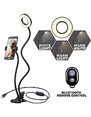 K&F Concept Anillo Luz Selfie con Soporte de Manguera Flexible para móvil para en Vivo Youtube y Maquilla con LED 3 Modelos 10-Level Brillo con Control Remoto para iPhone Android [Regalo de Navidad]