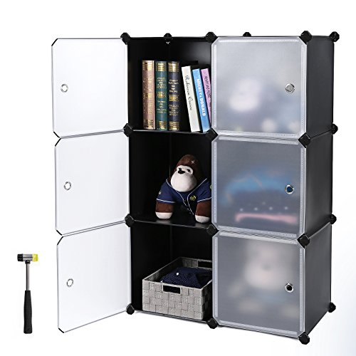 SONGMICS Storage Cube, Plastic Cube Organizer, DIY Modular Closet Cabinet,Bookcase with Doors for Bedroom, Living room, Office, Includes Rubber Mallet and anti-tipping device ULPC23H by SONGMICS