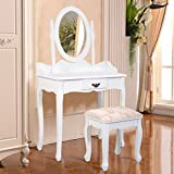 Furinho Bush - White Vanity Wood Makeup Dressing Table Stool Set Jewelry Desk W/ Drawer &Mirror YRS 1228