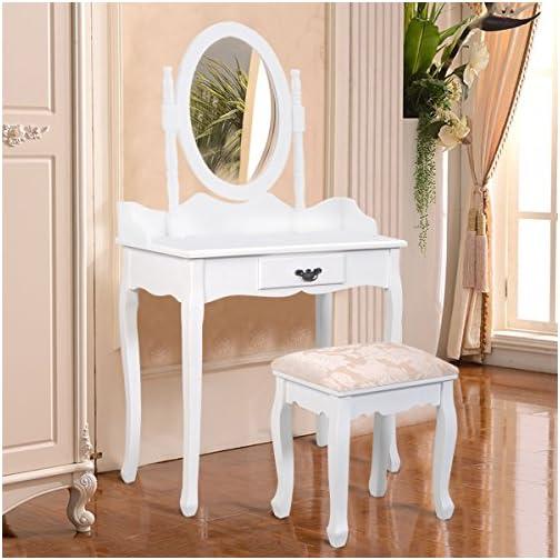 Giantex Bathroom Vanity Table Set w/Mirror Cushioned Stool Makeup Dressing Table Set w/ 1 Drawer Wood Jewelry Cosmetics…
