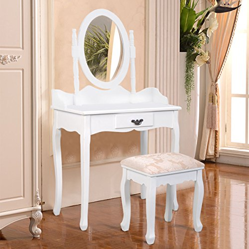 Giantex Bathroom Vanity Table Set w/Mirror Cushioned Stool Makeup Dressing Table Set w/1 Drawer Wood Jewelry Cosmetics Organizer Dresser Writing Desk Easy Assembly