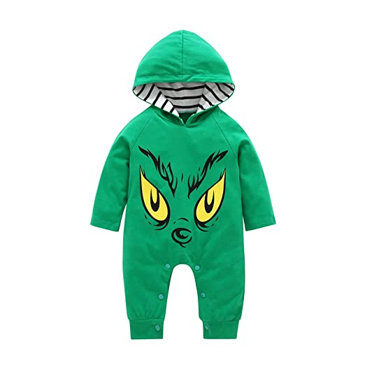 fe88d7ef61a Image Unavailable. Image not available for. Color  pcongreat Fashion Monster  Printed Long Sleeve Hooded Infant Baby Boys Romper ...