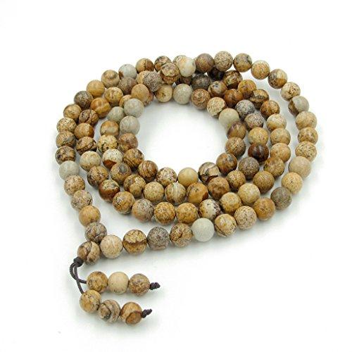 8mm 108 Picture Stone Beads Buddhist Prayer Jasper Rosary Mala