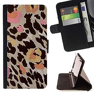 - leopard pattern pink beige brown yellow - - Prima caja de la PU billetera de cuero con ranuras para tarjetas, efectivo desmontable correa para l Funny HouseFOR Sony Xperia M2