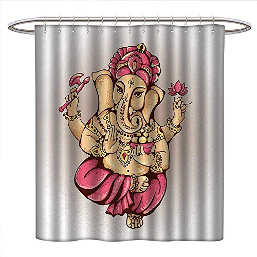Anniutwo Bohemian Shower Curtain Customized Bohemian Goddess Elephant Pastel Colored with Lotus Flower Axe Spiritual Art Design Patterned Shower Curtain W72 x L96 Pink Cream