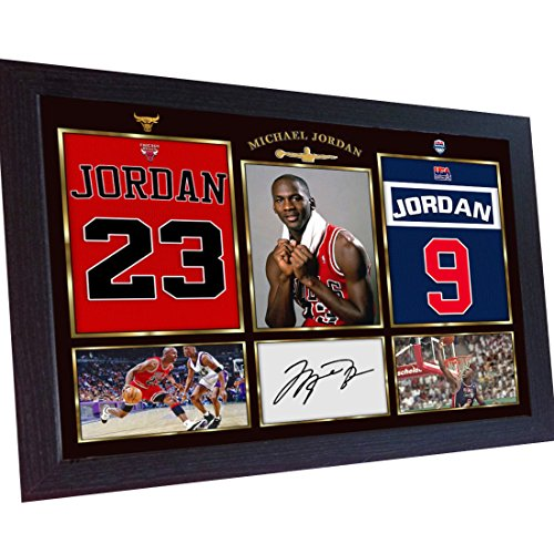 S&E DESING Michael Jordan NBA Signed Autograph Basketball Chicago Bulls Photo prinr Framed