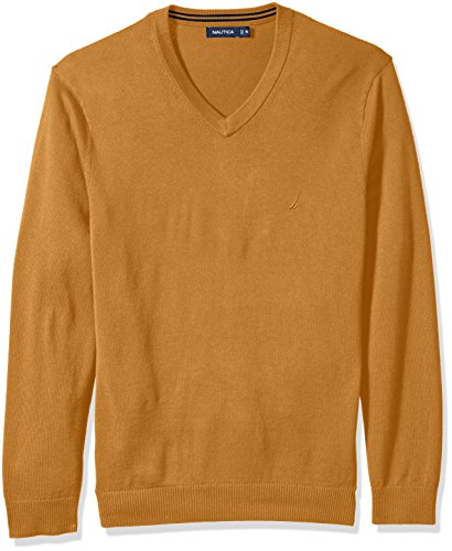 Nautica Men's Standard Long Sleeve Solid Classic V-Neck Sweater, Caramel Heather, (Brown Heather Sweater)