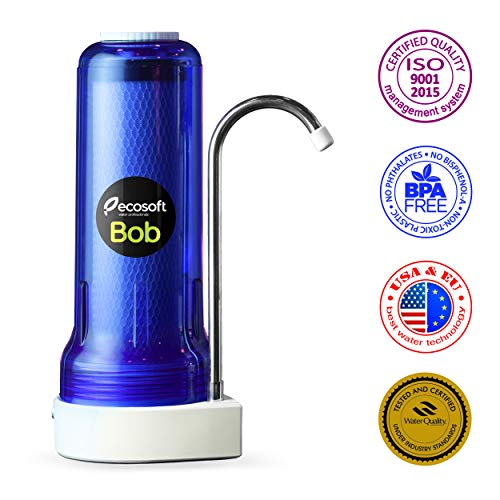 Ecosoft Countertop Water Filter System for Faucet Mount with Extra Filtration Cartridge - Blue ()