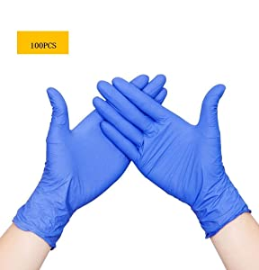 WowTowel 100pcs Disposable Nitrile Gloves Exam Gloves Latex-free, Powder-free Glove for Cleanin, 1count, Large
