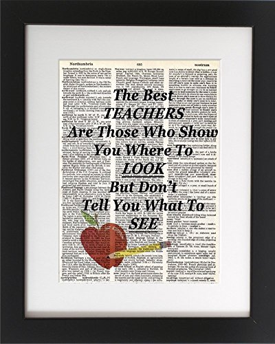 The Best Teacher - Upcycled Dictionary Art Print 8x10. - UNFRAMED - Frame and matting are for presentation purposes only to show you how they can look. Great Gift for Teacher!