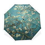 JSTEL Van Gogh Apricot Flowers Windproof & Waterproof Compact Travel Umbrella Anti-UV Protective Canopy Parasol UPF 50+ Sun Block Umbrella Summer Shady Folding Sun Umbrella