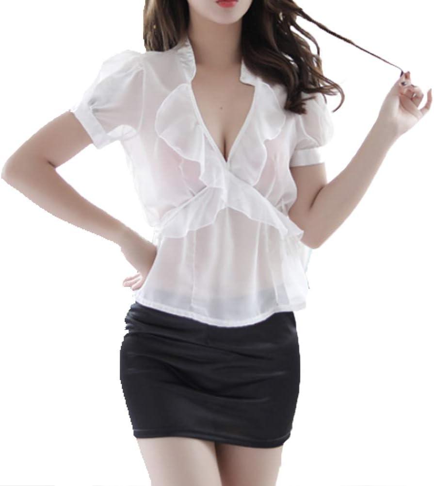 ZFAZY Ropa de Mujer de Oficina Secretaria Sexy Camisa Transparente Falda Apretada para el Juego de rol en el Escenario Fiesta de Discoteca: Amazon.es: Deportes y aire libre