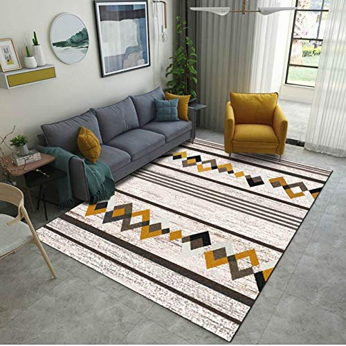DADAO Modern Contemporary Area Rugs,Home Model Carpet,Nordic Minimalist Style,Geometric Sofa Coffee Table Mat Bedroom Bedside mat,13,100x200cm(39x79inch)