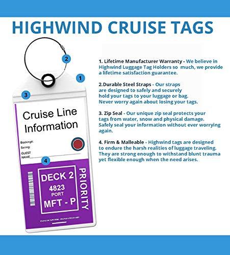 Cruise Tags Luggage Etag Holders Zip Seal & Steel Loops Thick PVC - (8 Pack + 4 ID Holders)