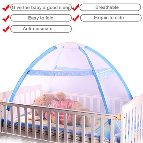 - Baby Crib Tent for Bed, Portable Mosquito Net for Toddler Travel Play Canopy on Mattress Cover, Mesh Playpen Safety Kids from Sleep Bumper Nursery Netting on Cot Bedding, can be Folding with Pack Blue