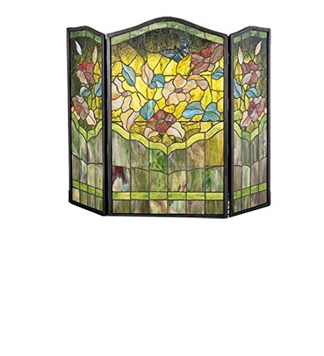 Stained Butterfly Fireplace Glass Screen - 40 Inch W X 34 Inch H Butterfly Fireplace Screen Fireplace Screens