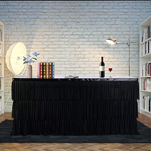 Falda para mesa redonda o rectangular de tul, con falda de 3 capas de volantes para fiestas, reuniones, cumpleaños,...