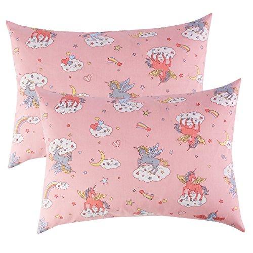 13 Girl (IBraFashion Toddler Pillowcases Pink for Girls 14x19 For 13x18, 12x16 Pillow 100% Cotton Unicorns Rainbow Printings Set of 2)