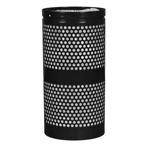 Ex-Cell Kaiser Landscape Series 34-gal perforated trash receptacle with retainer bands - WR-34RBLACK