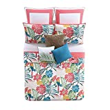 3pc Girls Colorful Tropical Quilt Full Queen Set, Floral Parrot Tropics Bedding, Bright Vibrant Color Flower Parrots Tropic Bird Themed Pattern Cotton, Pink Blue Green Yellow White