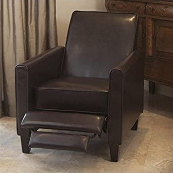 Nice Noble House Delouth Leather Recliner Club Chair