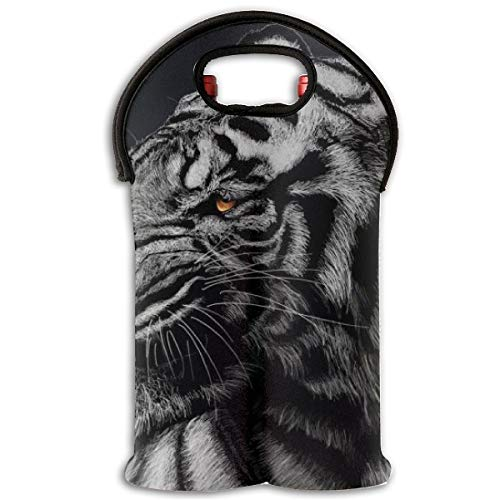(Sanghing Black and White Striped Tiger Wallpaper Single Red Wine Cover,Travel Wine Bag,Champagne,Beer, Beverage Bottle, Protection Bag, Party, Camping Bag)