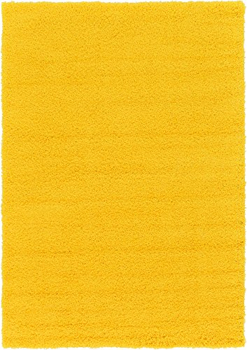 A2Z Rug Cozy Shaggy Collection 6x9-Feet Solid Area Rug - Tuscan Sun Yellow