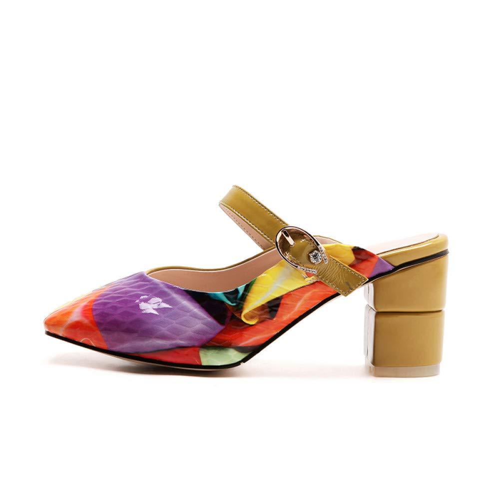 PINGXIANNV Mode Frauen Hausschuhe Sommer Damen Mules Schuhe Leder High Heels Schuhe Druckt Matal Dekoration B07PT8JC3F Tanzschuhe Moderne und elegante Mode