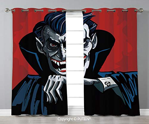 Grommet Blackout Window Curtains Drapes [ Vampire,Cartoon Cruel Old Man with Cape Sharp Teeth Evil Creepy Smile Halloween Theme,Blue Red Grey ] for Living Room Bedroom Dorm Room Classroom Kitchen Cafe -